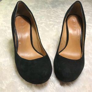 L.A.M.B Black Suede round-toe wedges